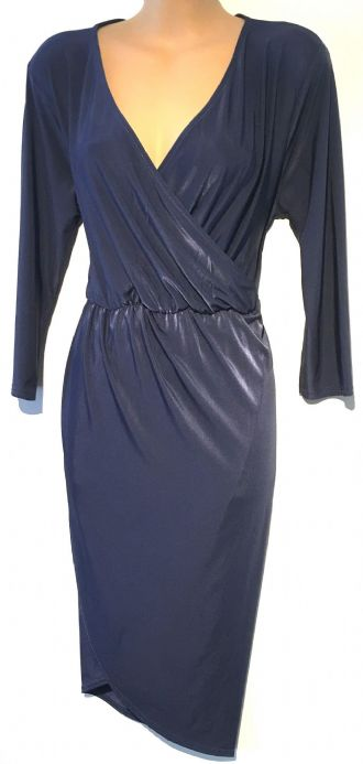 BOOHOO NIGHT DARK BLUE SLINKY EVENING WRAP DRESS SIZE 10